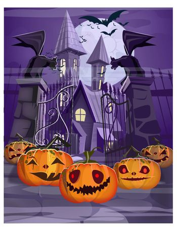 Haunted house with gate and pumpkins vector illustration