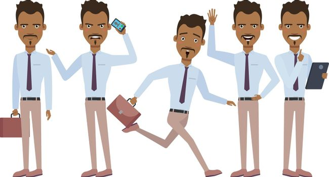 Hispanic businessman in hurry character set with different poses