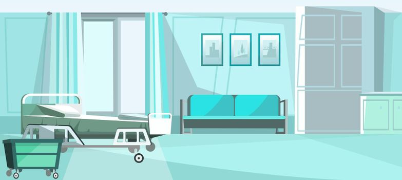 Hospital room with bed on wheels vector illustration