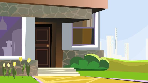 House decorated with flowers and bush vector illustration