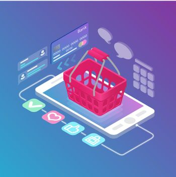Isometric empty shopping basket on gadget