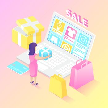 Isometric online shopper