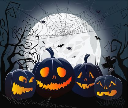 Jack o lanterns and cobweb with spiders against moonlight vector