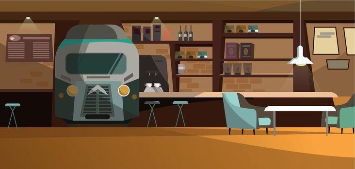 Loft cafe with unique design vector illustration