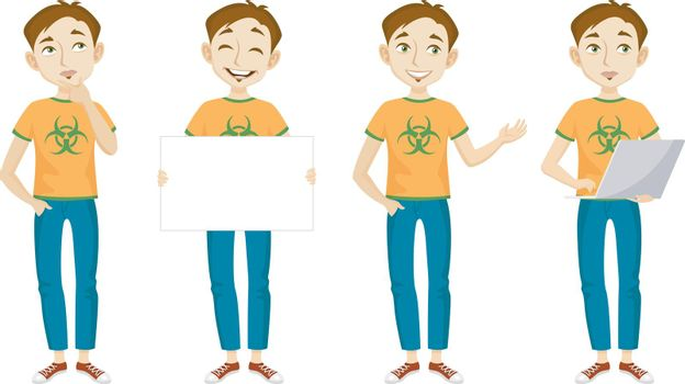 Male genius in t-shirt with bio hazard sign character set