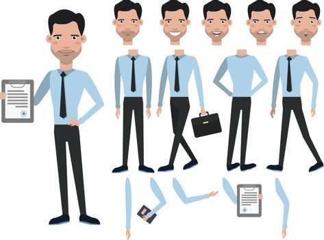 Man with contract character set with different poses, emotions