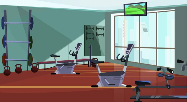Modern health club with spinning equipment vector illustration