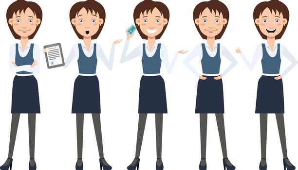 Multitasking business lady character set with different poses