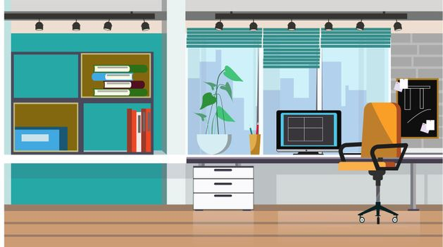 Office table with desktop computer vector illustration