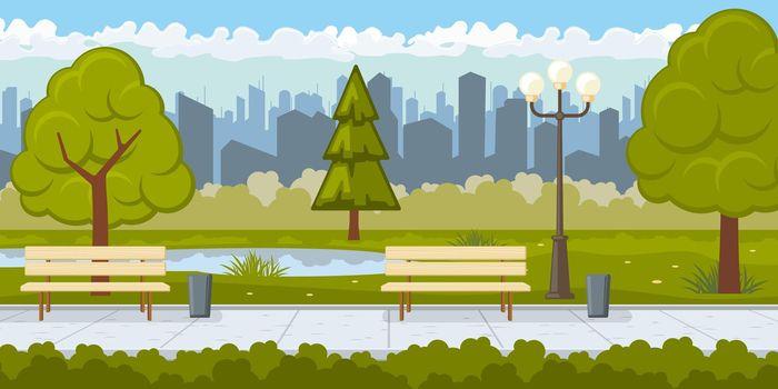 Public park with asphalt path vector illustration