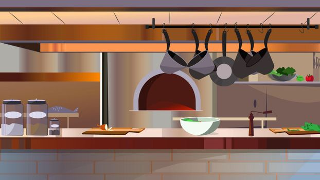 Restaurant kitchen with oven and counter vector illustration