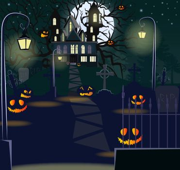 Road to haunted house with lanterns and pumpkins vector