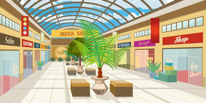 Shopping mall corridor with panoramic roof