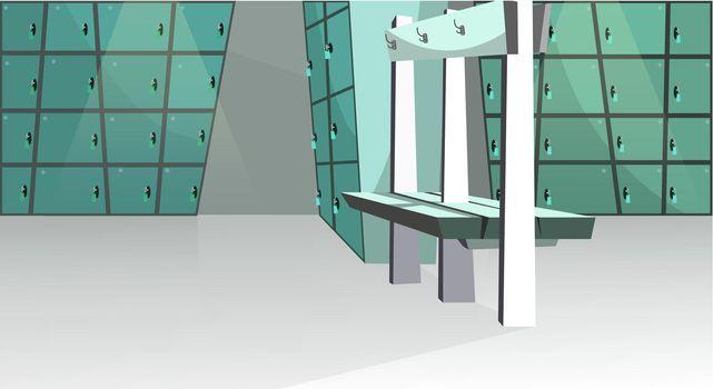 Sports locker room vector illustration