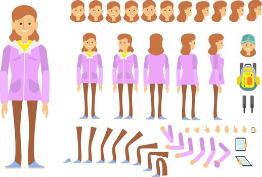 Student girl character set with different poses, emotions