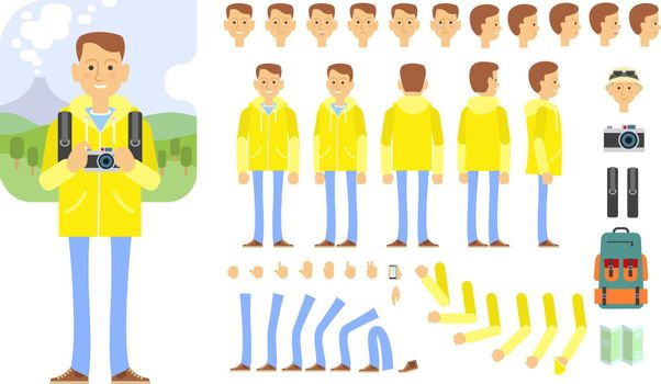 Tourist character set with different poses, gestures, emotions