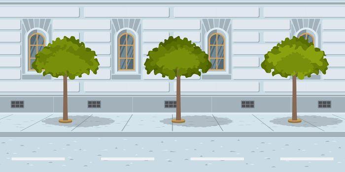 Trees in line on urban street