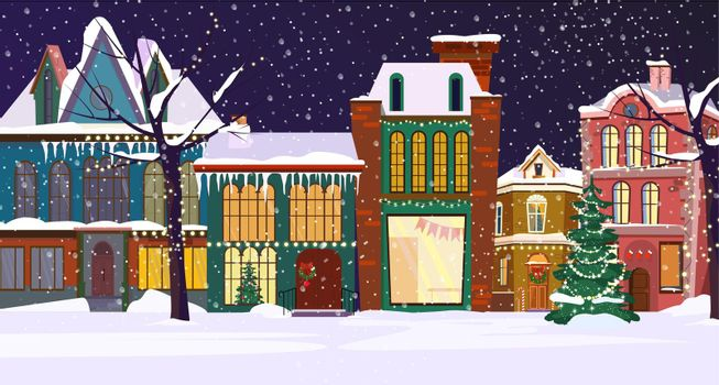 Winter night townscape with houses and decorated fir-tree
