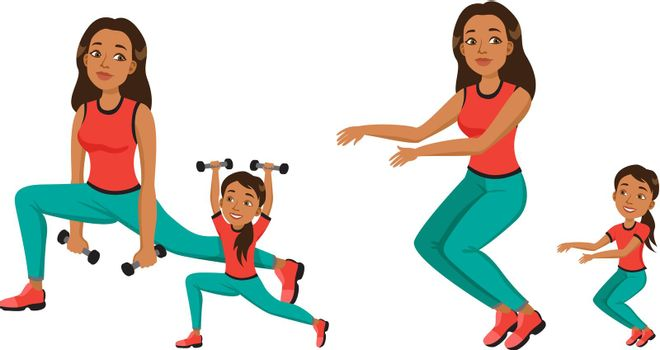 Young woman and girl in fitness apparel doing sport exercises