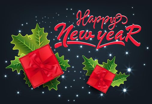 Happy New Year festive card design. Gifts and mistletoe