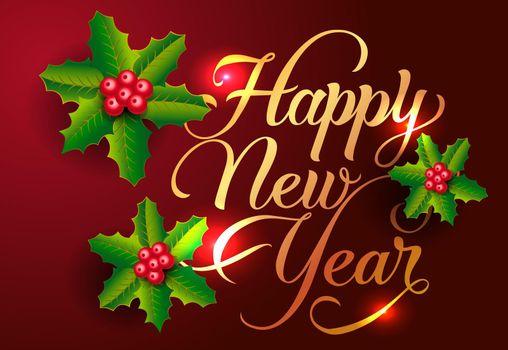 Happy New Year postcard design. Mistletoe berries