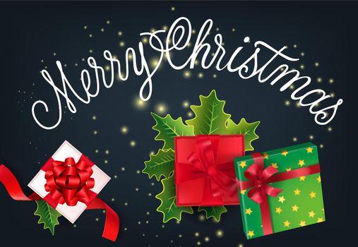 Merry Christmas festive card design. Gifts and mistletoe