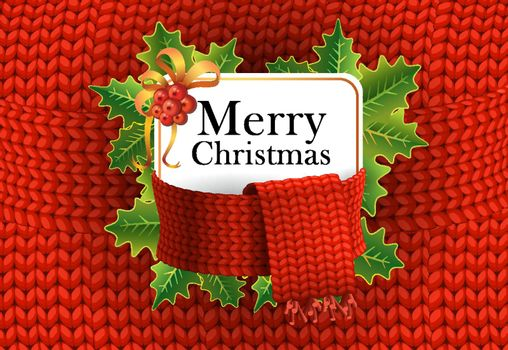 Merry Christmas greeting card design. Mistletoe berries