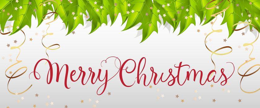 Merry Christmas lettering with mistletoe leaves
