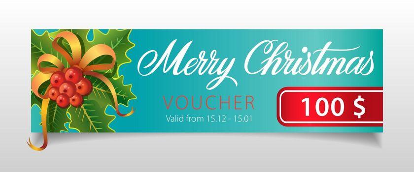 Merry Christmas, voucher lettering with mistletoe