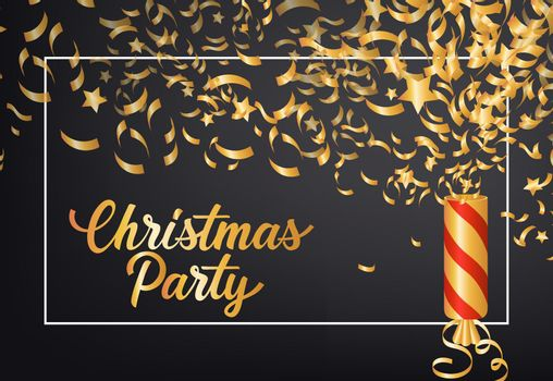 Christmas Party festive poster design. Cracker, confetti