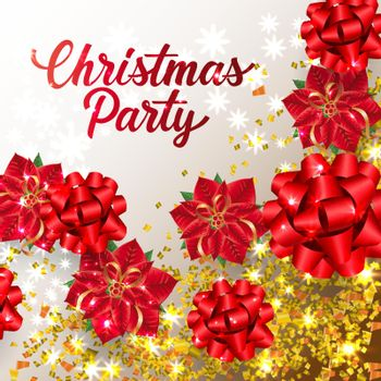 Christmas Party lettering with ribbon bows and confetti
