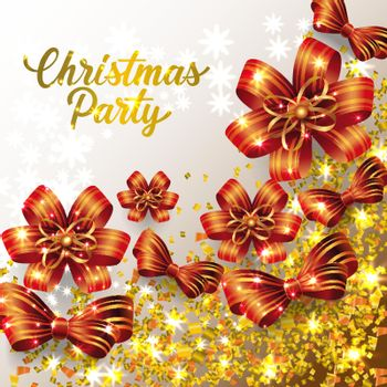 Christmas Party lettering with shining confetti and ribbon bows