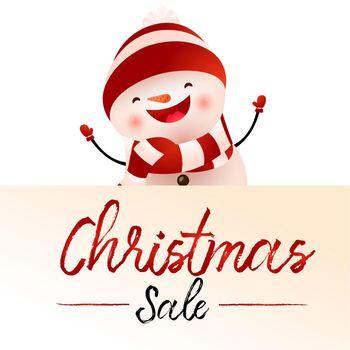 Christmas Sale light beige poster design with cartoon snowman
