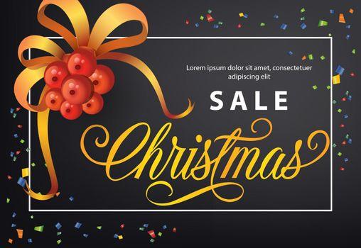 Christmas Sale poster design. Mistletoe with ribbon, confetti