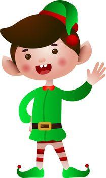 Christmas elf waving hand vector illustration