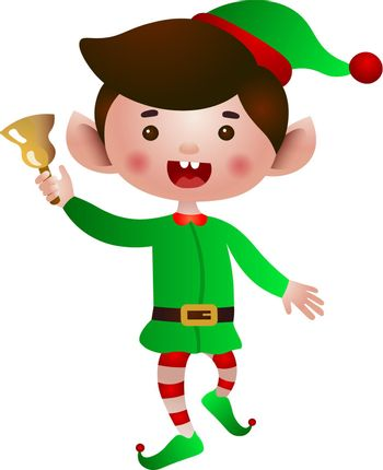 Excited elf jumping and ringing bell vector illustration
