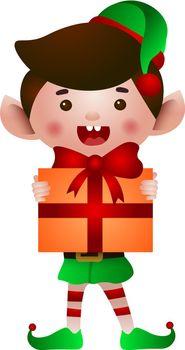 Happy elf holding Christmas present vector illustration