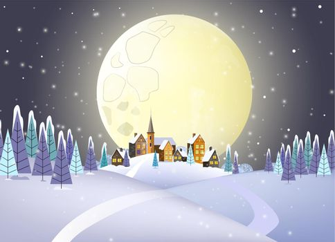 Many houses against full moon vector illustration