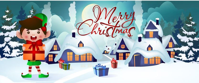 Christmas banner design. Jolly elf holding gift
