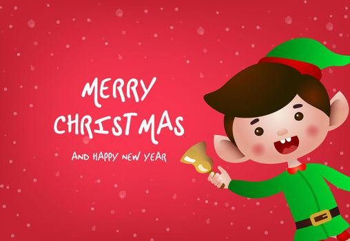 Christmas greeting card design. Cheerful elf ringing bell