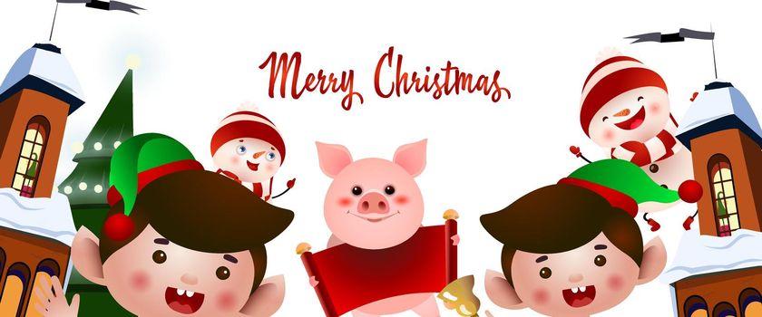 Christmas party flyer design. Cartoon elves
