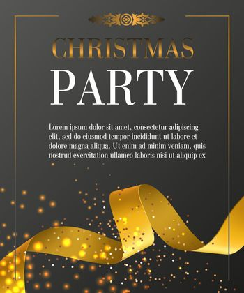Christmas party lettering in frame on black background