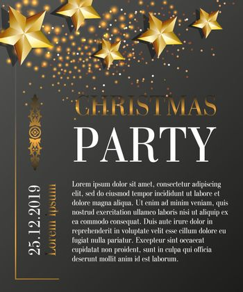 Christmas party lettering with date on black background