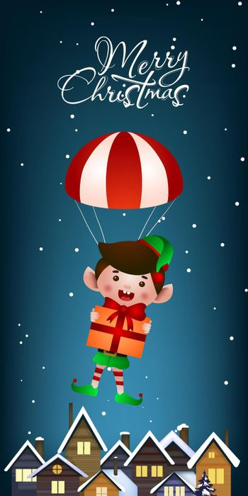 Christmas vertical banner design. Jolly elf with gift flying