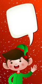 Christmas vertical banner template. Joyful cartoon elf