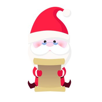Concentrated Santa Claus reading gift list