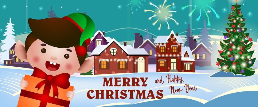 Merry Christmas and happy New Year banner with cheerful elf
