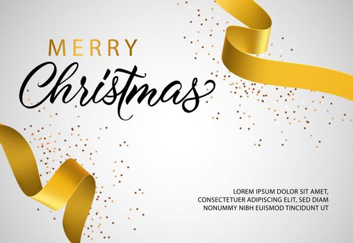 Merry Christmas banner design with golden ribbon