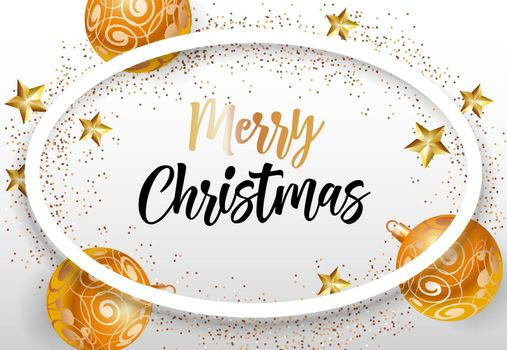 Merry Christmas lettering in oval frame with baubles and stars
