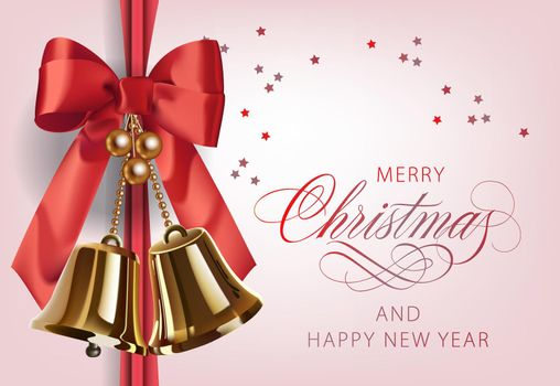 Merry Christmas with golden bells and red ribbon postcard design